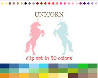 50 Colors Digital UNICORN Clipart Unicorn Clip art Unicorn Silhouette Clip Art Unicorn Graphics Unicorn Image Unicorns PNG SVG #C054