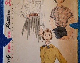 """Vintage 1950's shirt blouse sewing pattern - Simplicity 3656 - size 16 (34"""" bust) - 1950s"""
