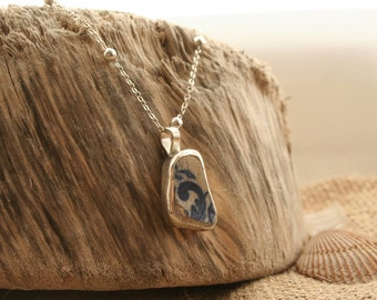 Unique handmade sea pottery and sterling silver pendant necklace