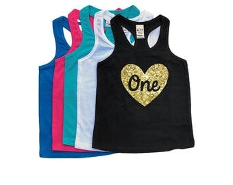 Glitter Heart Birthday Tank Top - ANY AGE - Racer back Tank Tops - Heart Number - Birthday Girl - Glitter Heart - Girls' Tank Tops