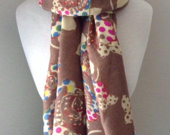 Light Brown Long Scarf with roses and mulit color polka dots - Long and light weight for spring and fall, mother's day gift