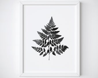 Botanical Print - Fern Leaf Print - Black and White Print - Leaf Print - Watercolor Plant Print -  Printable - Nature print - Leaf art