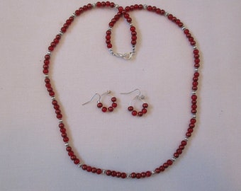 Ruby red & silver beaded necklace with matching pierced earrings - # 400