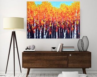 Fall Painting  Abstract Landscape Birch art, Palette knife Aspen Forest, Acrylic Impasto Texture Painting, Modern wall art California.