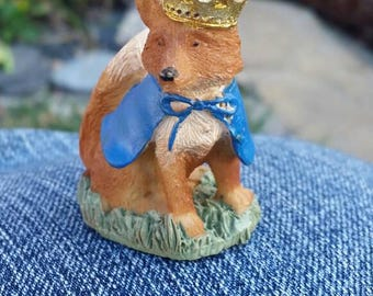 Fairy garden Fox with crown, miniature fox, fairy friend Fox, Foxy Loxy, Woodland Fox, Fox cake topper, Woodland fairy garden