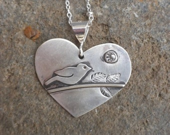 Sweet Sterling Silver Heart with Bird, Silver, Pendant, Heart, Bird Scene, Oxidized, Mother's Day Gift
