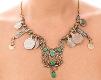 Tribal fusion jewelry | Kuchi ethnic necklace | Tribal coin necklace| Gypsy statement jewelry | Crystal boho necklace