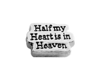 Half my Heart Lives in Heaven Floating Charm