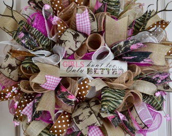 Girls Hunt Too Pink Camo Ruffle Mesh Wreath with Antler Branches and Pink Flowers; Pink Camo Decor; Country Rustic Primitive Decor Wreath