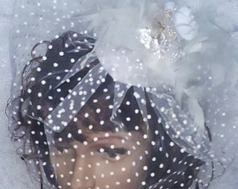 French Birdcage Blusher Veil with Tulle Dot Pattern, Feathers and Pearled silk roses