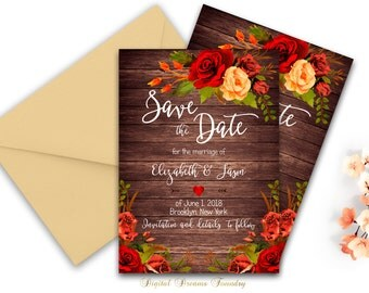 Rustic Fall Save The Date Printable Wedding Floral Save The Date Red Rose Invitation Bohemian Save the Date Wedding Sign Rustic Wedding
