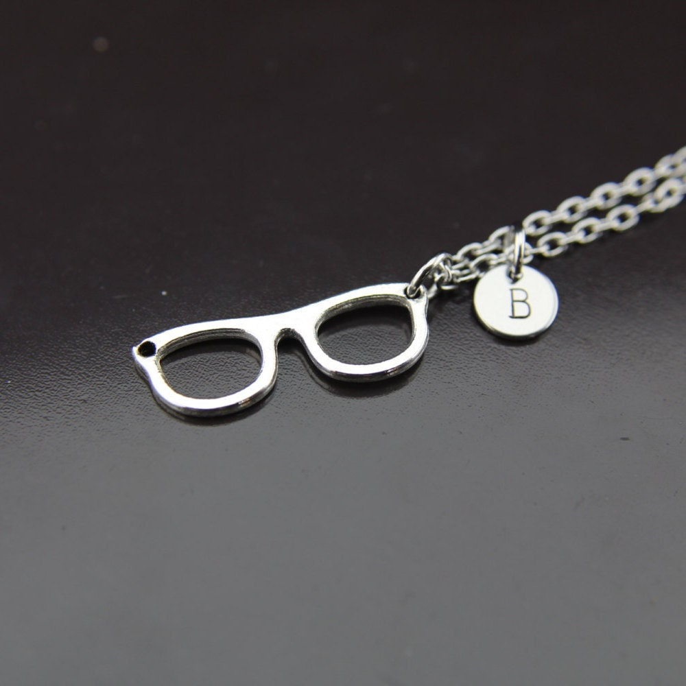 silver eyeglasses charm necklace reading glasses charm eye