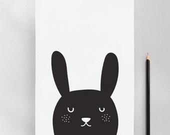 Monochrome Bunny Modern Nursery Kids Wall Art Print