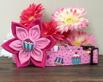 Dog collar, cupcake dog collar, happy birthday dog collar, birthday dog collar, birthday collar, happy birthday collar, collar flower, pink