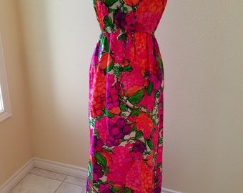 Vintage Hawaiian Dress, vintage McInerny by Sydney Honolulu, vintage dresses, vintage clothing, vintage Hawaii, vintage McInerny, pink dress