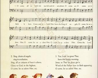 digital download of O Come, All Ye Faithful Sheet Music, Vintage Christmas Carols Print