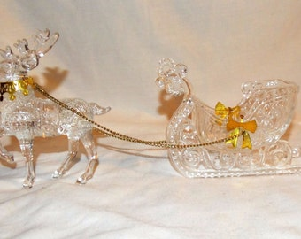 Vintage Clear Arylic Reindeer and Sleigh with Gold one Bow