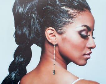 Long chain earrings, Black hematite earrings, Long dangle earrings, Verylong earrings, Long hanging earrings