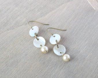 Pearl Dangle Earrings - Bronze Earrings, Mother of Pearl, Cream Earrings, White Earrings, Taupe Earrings, Beachy Earrings, Beach Jewelry