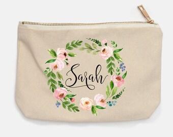 Cosmetic Bag, Personalized Name, Floral Wreath Monogram Cosmetic Bag, Name Pencil Case, Bridesmaid Gift, Makeup