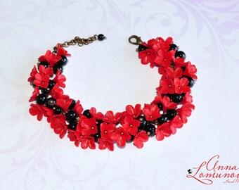 Wife bracelet gift Wife flower jewelry Wife statement jewelry Red black Bracelet Red Flower Bracelet Red black floral Bracelet  Red Jewelry