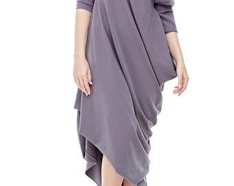 Gray maxi dress \ gray asymmetrical dress \ dress one shoulder \ asymmetric maxi dress\Stylish oversized grey dress\Loose dress casual.