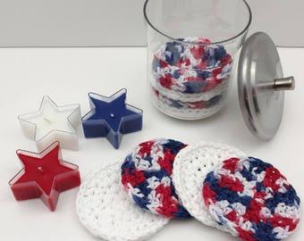 Crochet Face Scrubbies, Reusable Cotton Round, Face Scrub, Make up Remover Set of 4    [096]