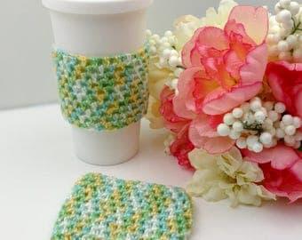 Multi-Colored Crochet Cup Cozy: Coffee/Tea Sleeve     [082]