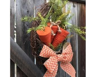 easter wreath, carrot wreath, easter basket wreath, easter door hanger, spring wreath, easter burlap wreath, easter bunny wreath, wreath