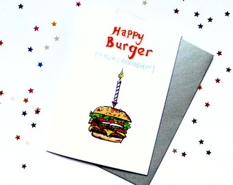 Hamburger Birthday Humorous Quirky Illustration Card