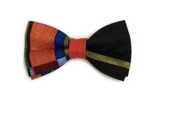 Orange Kente African Print Pre-tied Bow tie And Pocket Square, AfroNeckties Mens African Clothing, Weddings Graduation, Teen Gift