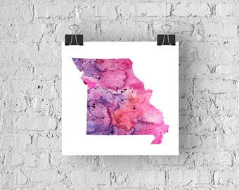 Missouri Watercolor Map - Giclée Print of Hand Painted Original Art - 5 Colors to Choose From
