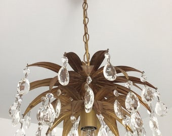 """SOLD !! VENDU// Amazing French Raindrops Crystal  Prisms Gold TOLE Pineapple Chandelier In """"Maison Baguès"""" Style Vintage Seventies"""