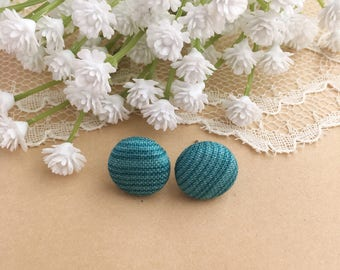 Teal Striped Fabric Stud Earrings, Striped Studs, Fabric Earrings, Stud Earrings, Button Earrings, Fabric Covered Button, Simple Earrings
