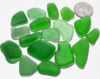 Green Sea Glass, Authentic Sea Glass, Genuine Sea Glass, Surf-Tumbled Beach Glass, Craft Projects, Jewellery Making