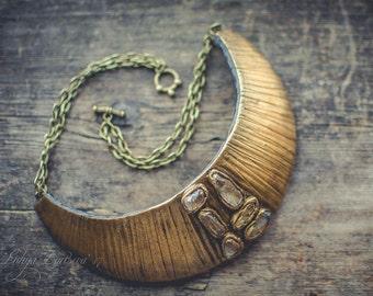 Statement necklace Bib necklace gold necklace polymer clay necklace  rhinestone necklace minimalism necklace