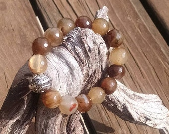 Faceted shades of brown Quartz stretch beaded bracelet 14mm