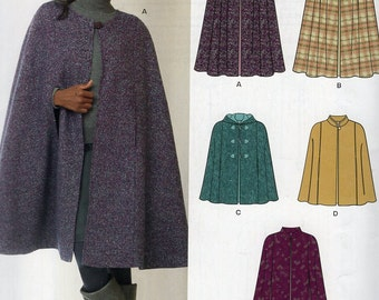 New Look 6073 Free Us Ship Cape Cloak Hood Hoody 6/24 Size  6 8 10 12 14 16 18 20 22 24 New Sewing Bust 32 34 36 38 40 42 44 46 48 50