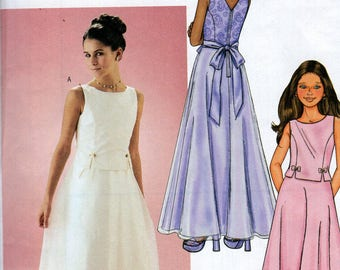FREE US SHIP Butterick 3483 Sewing Pattern Flower Girl Dress Floor length Size 7 8 10 12 14 New Uncut