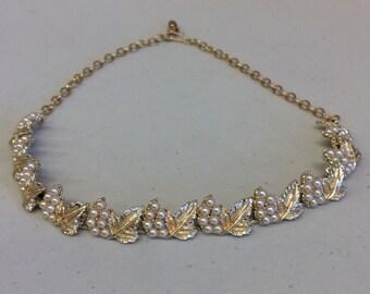 Pearl (faux) Necklace & Bracelet Set; Grape and Leaf Pattern; Vintage; Gold filled;