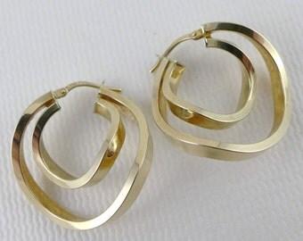 Gold Hoop Earrings, Vintage 14K Gold Double Hoop Earrings, Gold Curved Hoop Earrings
