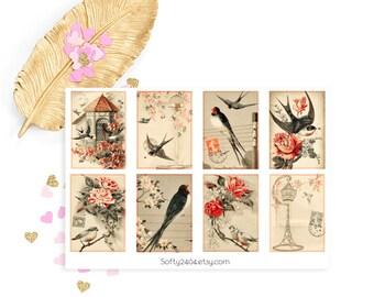 Vintage Birg sticker, life planner sticker for kikki k, filofax or erin condren, bird sticker