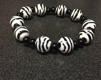 Zebra Print Beaded Bracelet
