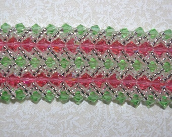 Beautiful crystal bracelet in pink, green and crystal