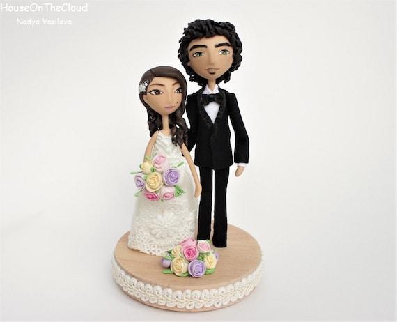 Wedding Cake Toppers Rustic Wedding Princess Style Beautiful Wedding Miniature Cake Figurine Bride Groom Clay Doll Wedding Statement Piece