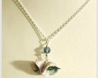 no.103 Porcelain Pendant Necklace - Porcelain Flower pendant with Swarovski crystals