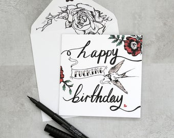 tattoo birthday card  etsy, Birthday card