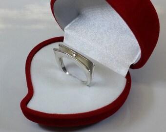 17.9 mm ring 925 Silver flat precious Crystal SR655