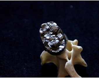 SALES !!!Pyrite Brut Ring - Gems - Brut - Design - Original - Adjustable Size - Unique Piece -