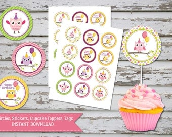 Cute Owl Cupcake Toppers, Owl Birthday Toppers, Owl Favour Tags, Owl circles, Owl party, Owl party supplies, toppers DIY, INSTANT DOWNLOAD